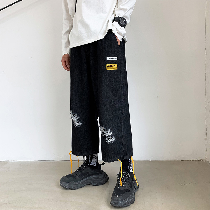 Hong Kong Style New Style Loose-Fit With Holes Jeans Men's Fashion Brand Printed Wide-Leg Closing Beam Leg Capri Pants Fashion