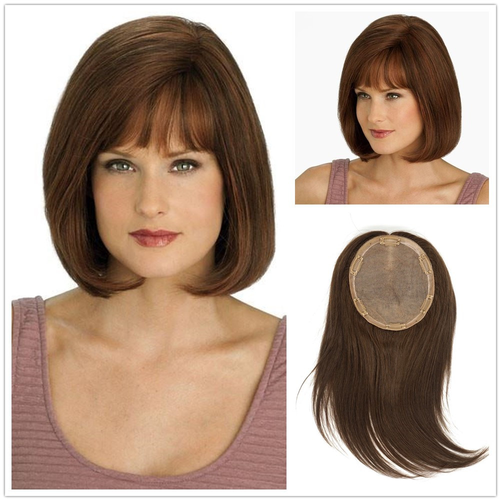 Hstonir Highlight Human Hair Toppers Kosher Jewish Toupee Hair For Women Jewish Wig Fall European Remy Hair Toper TP30