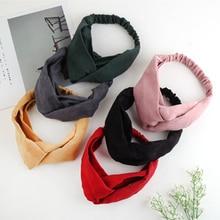 2019 Solid Color Lady Headdress Bow Headband Turban Elastic