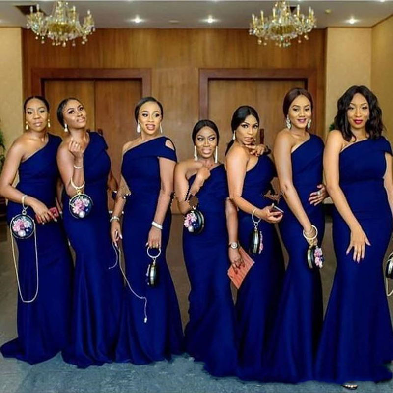 Royal Blue Mermaid Bridesmaid Dresses Sweep Train Simple African Country Wedding Guest Gowns Maid Of Honor Dress Plus Size