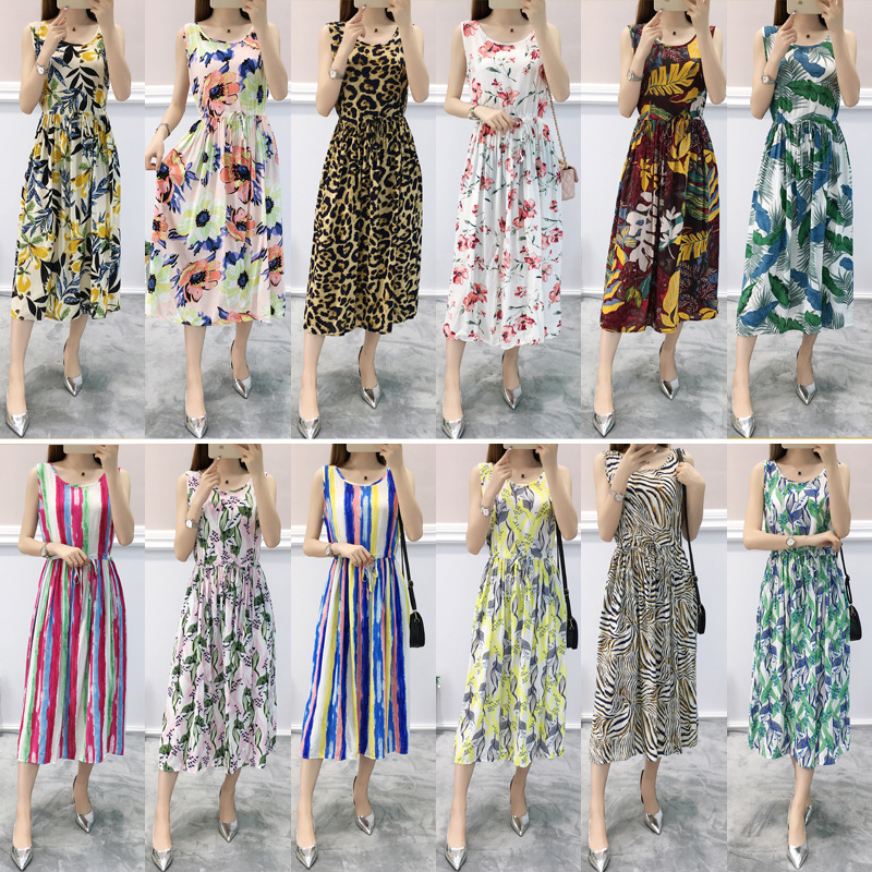 Floral-Print Dress Women's Sleeveless With Drawstring Cotton Loose-Fit Comfortable Beach Seaside Holiday