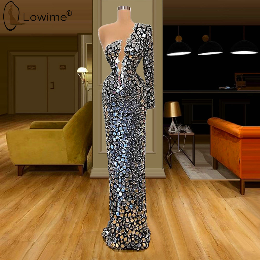 One Long Sleeve Full Crystals Mermaid Evening Dresses Kaftans Dubai Floor Length Robe De Soiree Prom Party Gowns