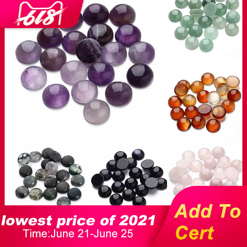 10-30pcs/lot 6/8/10/12mm Purple Amethysts Natural Stone Beads Round Loose Beads Cabochon Cameo Pendants Base Tray For Jewelry