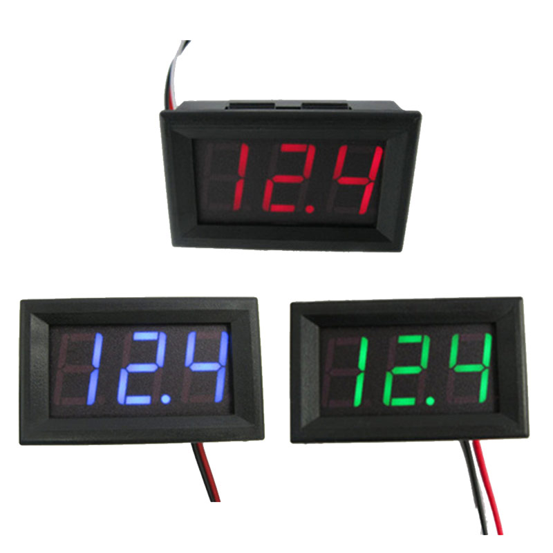 Junejour Mini Digital Voltmeter Ammeter <font><b>DC0</b></font>-<font><b>100v</b></font> Panel Volt Current Meter Tester with 2/3 Wires LED Panel Digital Display 5.6In image