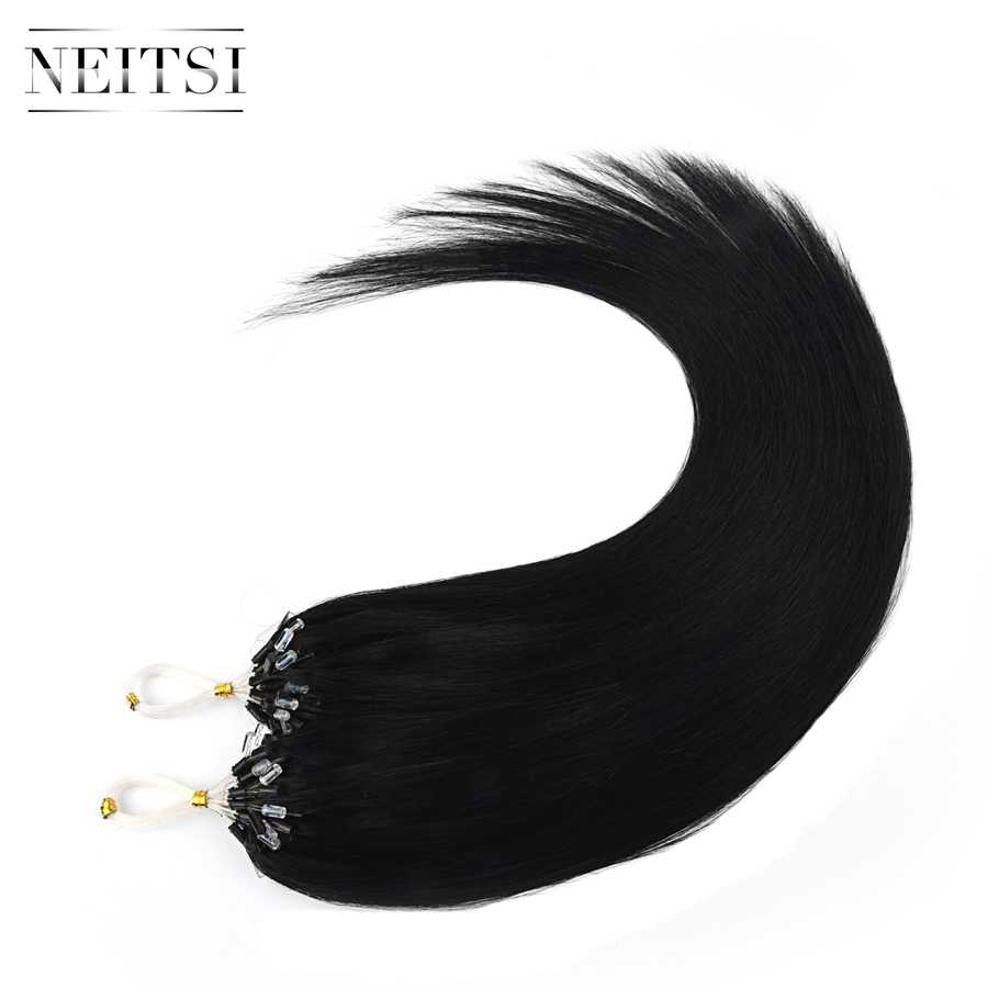 """Neitsi Machine Made Remy Straight Loop Micro Ring Hair Extensions 100% Human Micro Beads Links Hair 16"""" 40cm 1g/s 21 Colors"""