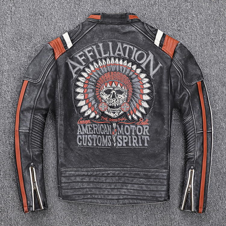 H49b6ad227f17422db76db6f28014a79aa 2019 Vintage Black Men Leather Motorcyclist Jacket Skull Embroidery Plus Size 3XL Genuine Cowhide Short Biker Coat FREE SHIPPING