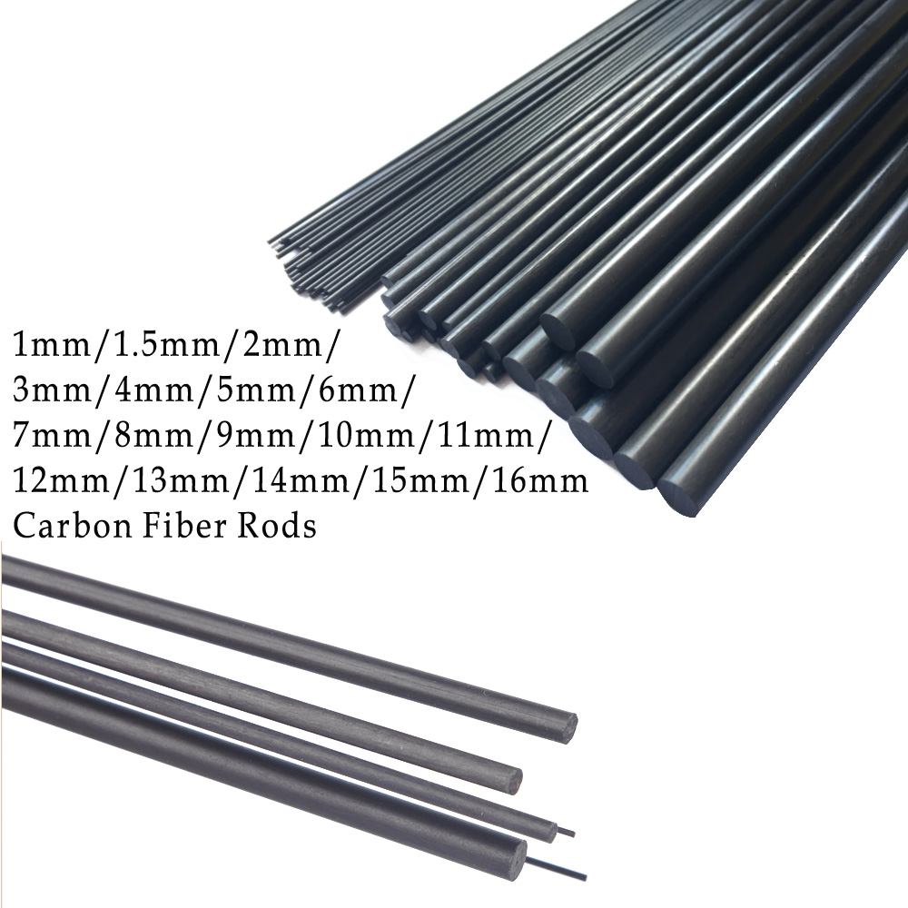 16pcs/lot New Carbon Fiber Rods for RC Plane DIY tool wing tube Quadcopter arm 1mm-16mm (0.5meter/pcs) image
