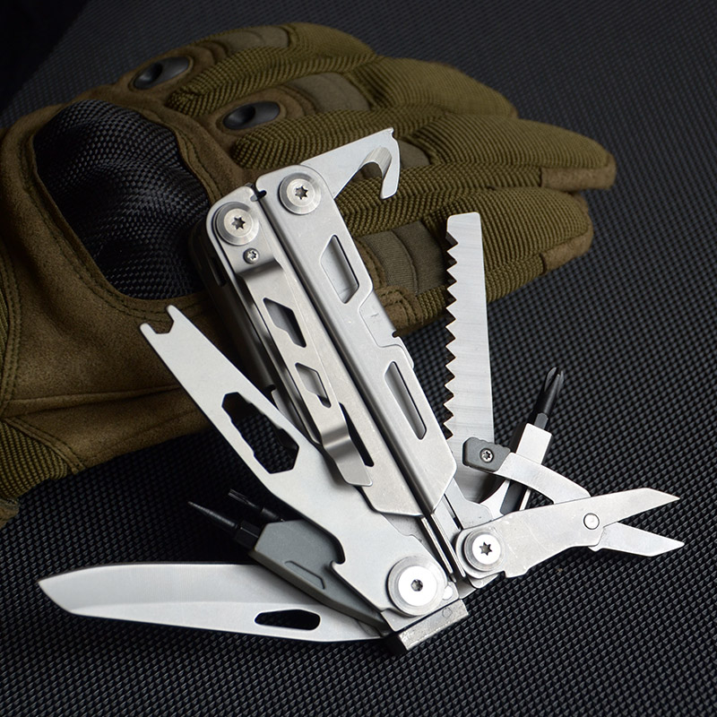 14 In 1  Multi Tools Plier Folding Knife Survival Multitool  With Screwdriver Bottle Opener Wood SAW And Carry Pouch