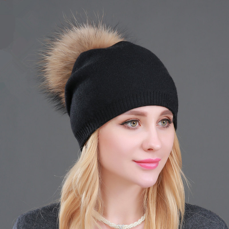 High Quality Women Dual Layer Wool Knitted Hats With Big Real Fur Pompoms Warm  Slouchy Beanies Hat Ladies Fashion Skullies
