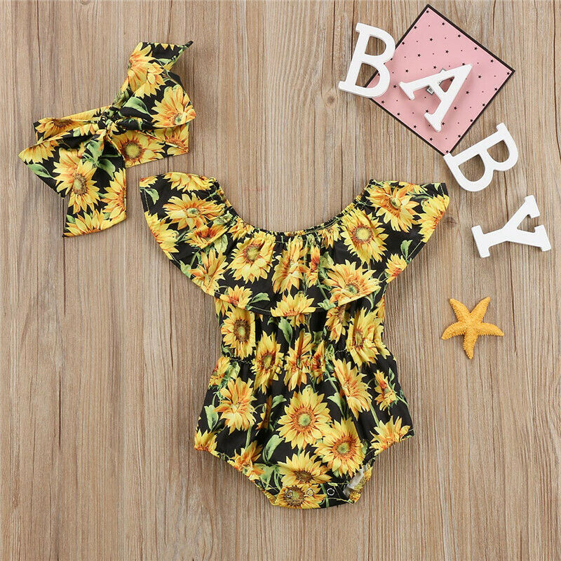 Toddler Baby Girls Flower Jumpsuit Summer Outfits Set Clothes