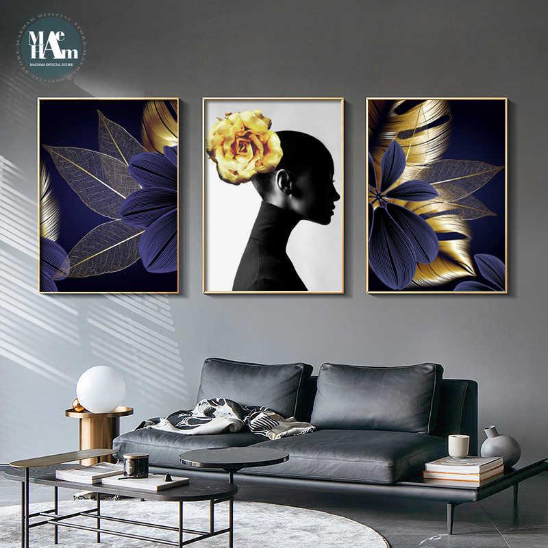 Фигурки лиловых золотых растений, настенный постер на холсте с современным абстрактным рисунком, декоративное украшение для гостиной, домашний декор