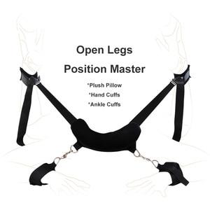 Image 2 - Brinquedos sexuais para adultos casais fetiche fácil aberto perna escravo sm jogo bondage kit sexy role play pescoço travesseiro algemas tornozelo punhos