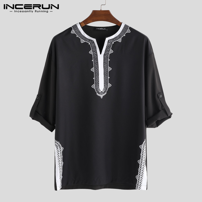 INCERUN 2019 Men Tops African Dashiki T Shirts Print Long Sleeve V Neck Loose Ethnic Style Casual T-shirts Men African Clothing