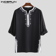 INCERUN 2019 Men Tops African Dashiki T Shirts Print Long Sleeve V Neck Loose Ethnic Style Casual T-shirts Clothing