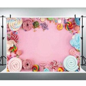 Image 4 - Laeacco Детские задние фоны для фотографий в день рождения розового цвета конфеты десерт пончик леденец фото задние фоны новорожденный фотосессия Фотостудия
