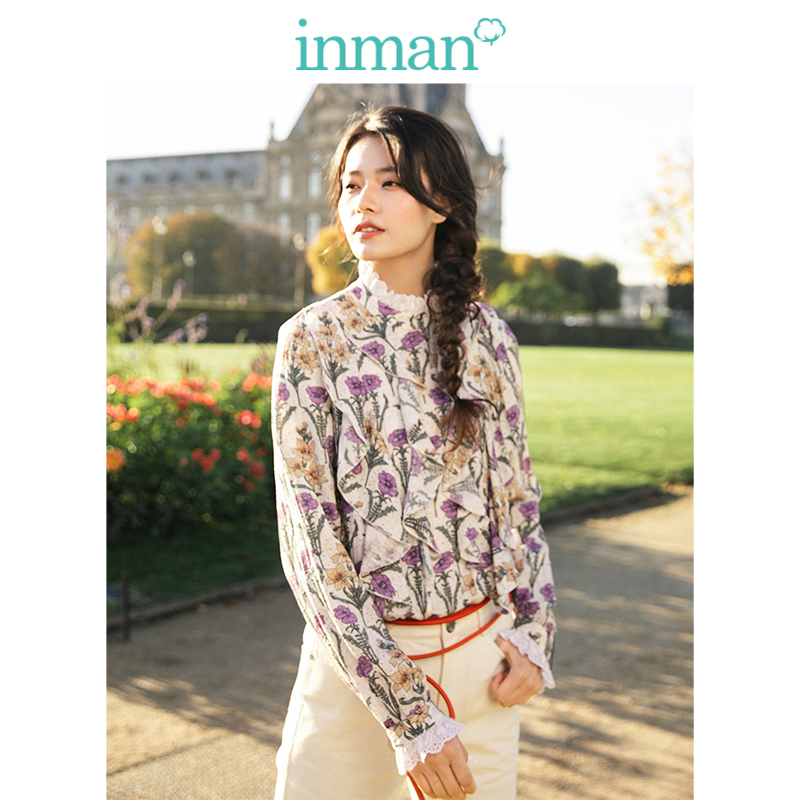 INMAN  Medium High Collar Literary Retro Floral Holiday Style Loose Long Sleeve Women Blouse