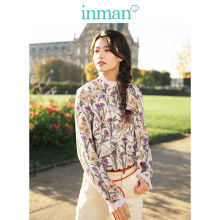 INMAN Medium High Collar Literary Retro Floral Holiday Style Loose Long Sleeve Women Blouse(China)