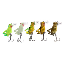 5Pcs 4cm 3.1g Insects Fishing Lures Hard Baits Floating Simulation Grasshopper Multicolor Accessories