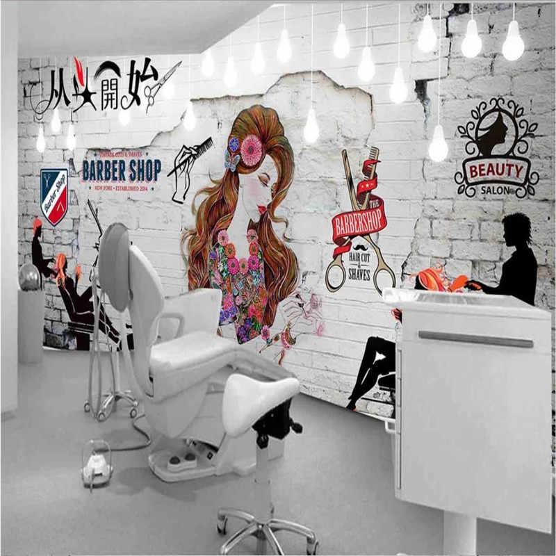 На заказ белая кирпичная стена Красота Стиль Парикмахерская настенная бумага 3D Парикмахерская промышленный Декор Фон настенная бумага 3D