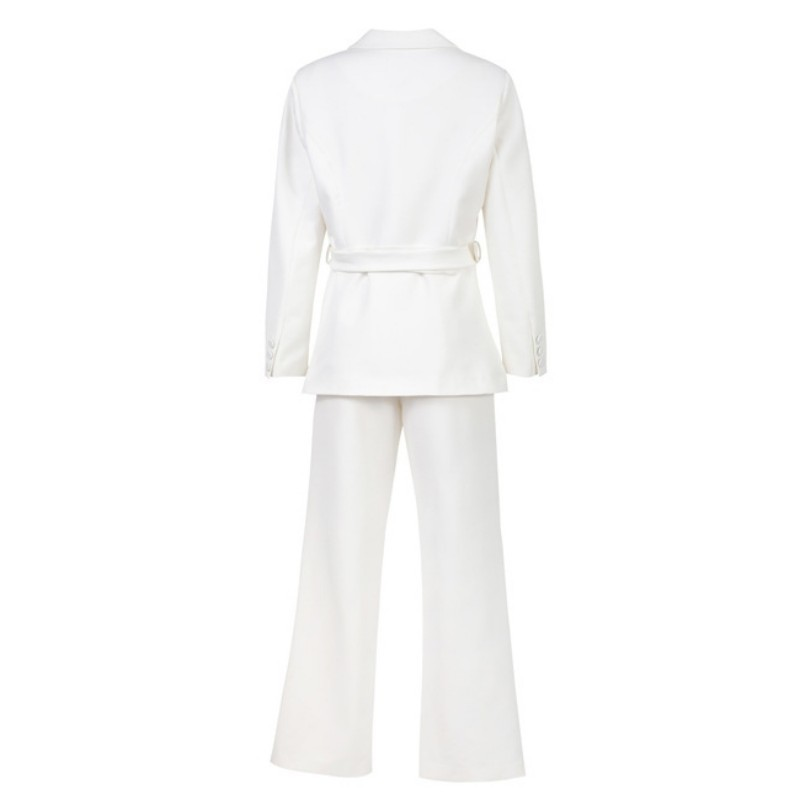 Office Lady Pants Suits Blazer Slim Belt Jacket+Trousers 2 Piece Sets 2020 Summer New White Korean Fashion Women Suits Quality