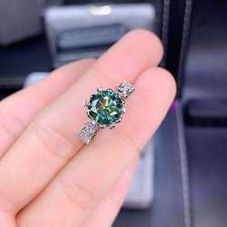 MeiBaPJ 1 Carat vert Moissanite diamant mode tendance bague pour femmes 925 argent Sterling Fine bijoux de mariage