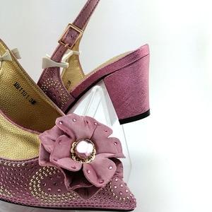 Image 5 - Cor de rosa grande cristal senhora africana sandálias com correspondência sacos italianos mulher apontou toe sapatos e saco para combinar para a festa