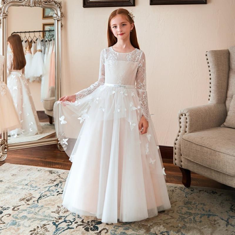 2020 nouvelle robe de princesse élégante avec des papillons faits à la main une ligne robe de demoiselle d'honneur pour les enfants de mariage robes de première Communion Longo