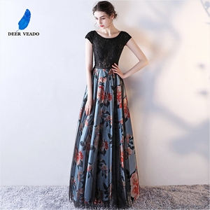 Image 2 - DEERVEADO Cap Sleeve Elegant Evening Dresses Long Flower Pattern Short Sleeve Lace Dress Evening Gowns Formal Party Dresses M246