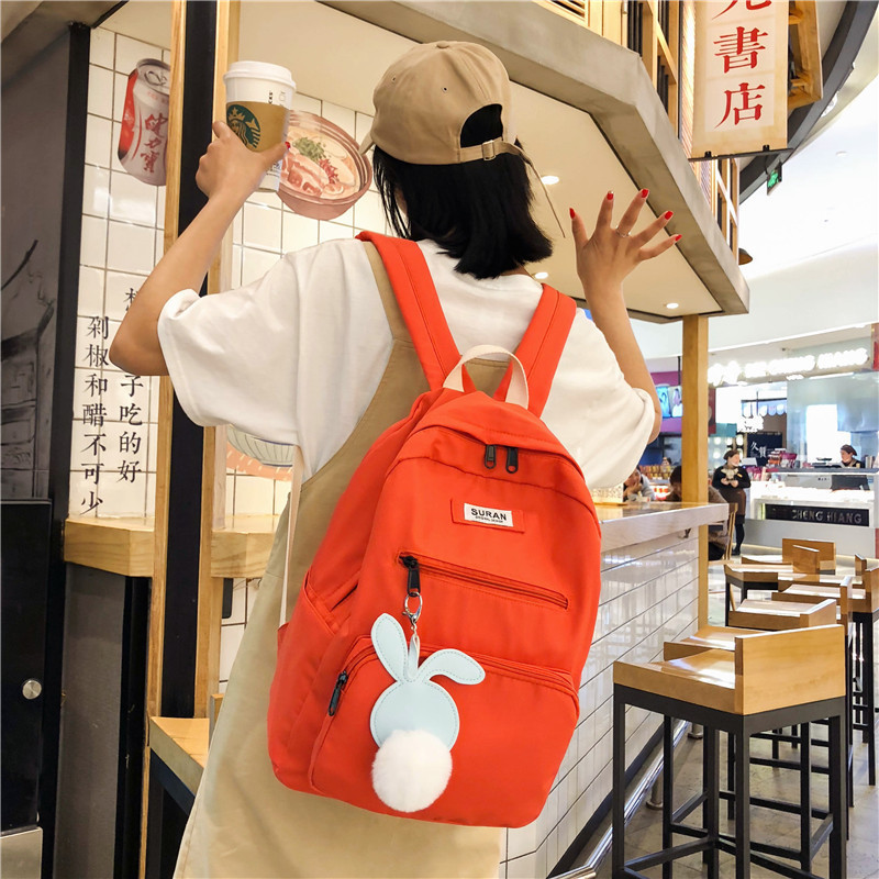 Backpack Women's New Style Korean-style Nylon High School College Student School Bag Large Capacity Outdoor Travel Fashion
