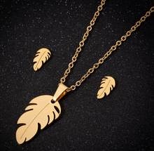 Oly2u Vintage Delicate Palm Leaf Stainless Steel Jewelry Sets Punk Feather Choker Pendant Necklace Collares Women Gift Wholesale(China)