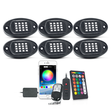 MICTUNING 6 Pods RGBไฟLED RockกับAPP/คู่RFรีโมทคอนโทรล96 LEDs Music Sync Multicolor Neon underglow Lighting Kit
