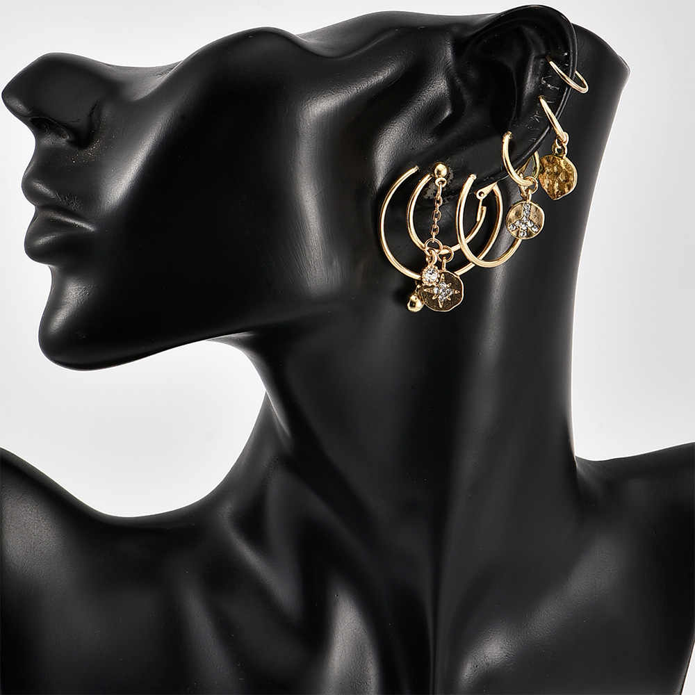 新イヤリングファッションジュエリーゴールド幾何平和スタースパンコールイヤリング女性のためのペンダントイヤリングセット卸売