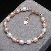 Pulsera de perlas naturales de agua dulce para mujer, pulsera de cuentas de arroz ajustable para regalo de cumpleaños de niña