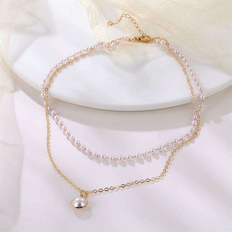 Vienkim 2020 New Double Layer Chain Gold Color Choker Necklace Women Korean Style Pearl Pendant Necklace Fashion Jewelry Collar