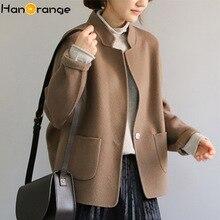 2019 Minimalist Style 100% Wool Double-sided Overcoat Women Cocoon Suit Woolen Coat