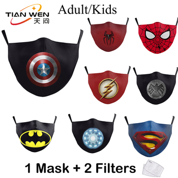 Superhero Printed Superman Captain America Spider-Man Face Masks Reusable PM2.5 Protective Dust Washable Fabric Kids Mouth Masks