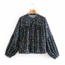 Stand Collar Loose Blouse Tops Sleeve-Shirt Blusas Printing Vintage Female Casual S8362