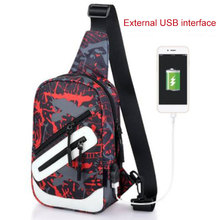 Men Oxford Cloth Chest Bag USB Crossbody Casual Sling Shoulder Small Outdoor Bags _WK