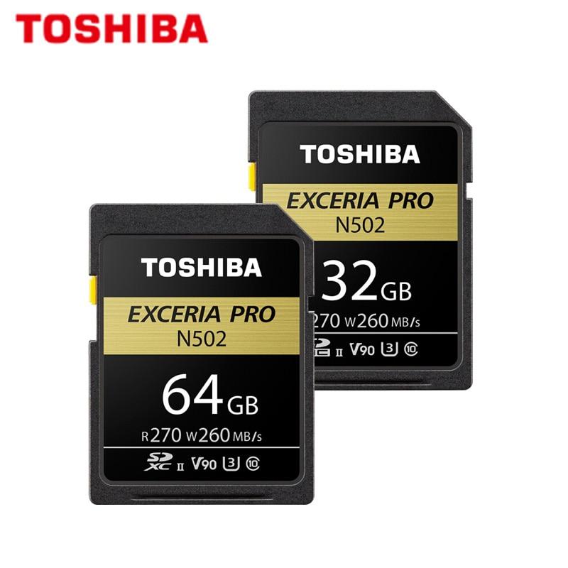 TOSHIBA Original SD Card 64GB 32GB SDHC SDXC U3 V90 C10 UHS-II Memory Card N502 EXCERIA PRO Max 270MB/s Support Video Record