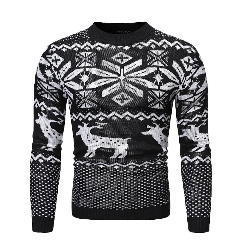 Men's Warm Pullover Christmas Print Knitted Sweater Blouse Tops S-XL Plus Size Autumn Winter Pull Homme Hombre Pullover Men