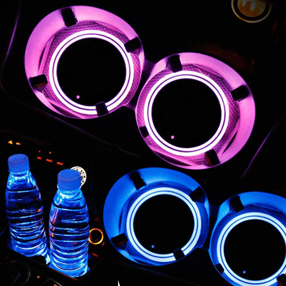 HITWH 2Pieces <font><b>LED</b></font> <font><b>Car</b></font> <font><b>Logo</b></font> Light Cup Pads Mats Bottle Coasters Atmosphere Light Cup Holder <font><b>USB</b></font> Rechargeable Decoration Lamp image