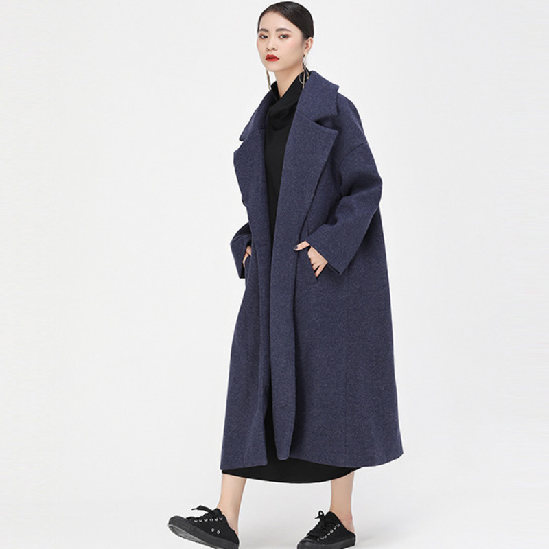 LANMREM 2019 new turn-down collar full sleeves pocket woolen autumn and cold winter thickness coat female   trench   WJ787