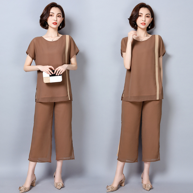 2019 Summer Spring Clothing Middle-aged Kuotaitai Mom Two-Piece Set Loose Pants Large Size Casual Versatile Chiffon WOMEN'S Suit