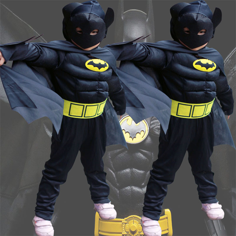 Children cartoon reality boy muscle superhero costume batman iron man captain clothes 1