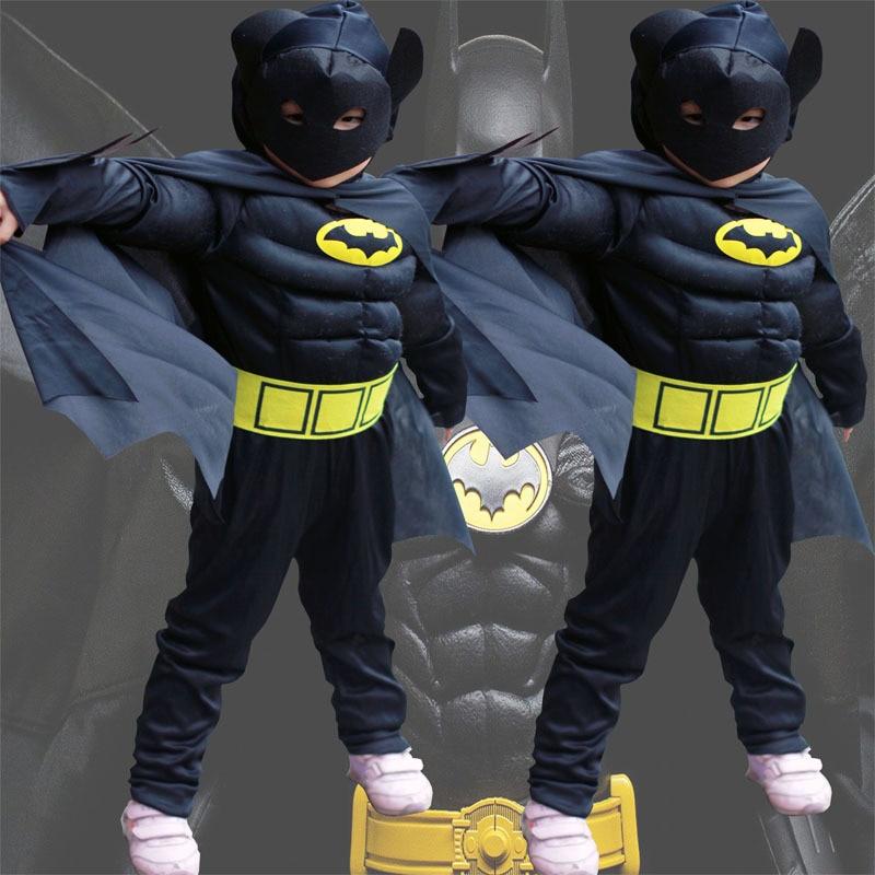 Children cartoon reality boy muscle superhero costume batman iron man captain clothes 1
