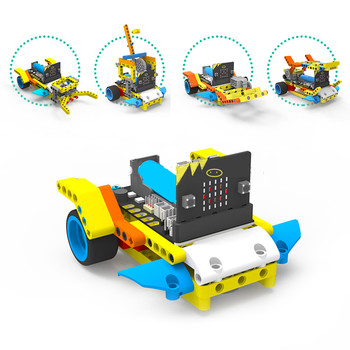 Newest STEAM DIY Programmable Robot Kit BBC Micro:bit Smart Robot Car Kit Compatible with Building Block Robot for Children Gift diy robot kit bluetooth robot intelligent car for studying starter little turtle accessory