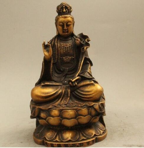 Guan Yin Chinese God Lucky Amulet Brass Statue Figurine