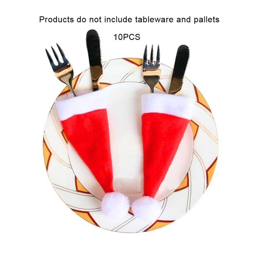 Christmas Hat Knife And Fork Flannel 6X15Cm 4G10/Pack Christmas Tableware Decorations Hat Cutlery Bag