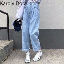 Женские джинсы, однотонные, винтажные, высокая талия, широкие, джинсовые брюки, простые, студенческие, универсальные, свободные, модные, Harajuku...