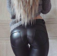 Qickitout – Legging en Faux cuir Pu pour femme, pantalon épais, noir, Push-Up, taille haute, Sexy, grande taille, hiver